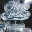 Happy Holidays etched in white