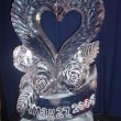 Single hear with flowers and text ice sculpture