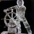 man at the wheel ice carving