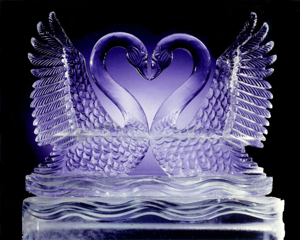 double swans heart ice carving