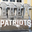 patriots display with lombardi trophies